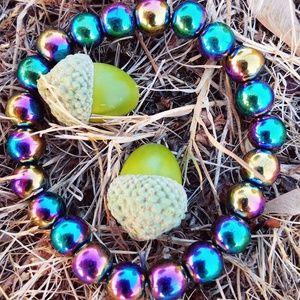 Jewelry - New Glass Color Shift Beads Bracelet Purple Blue